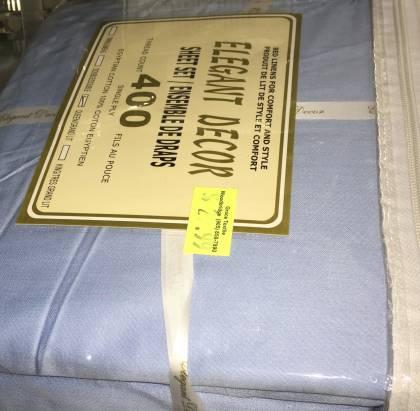 400 Thread Count Queen Size  Blue 4 Piece Sheet Set