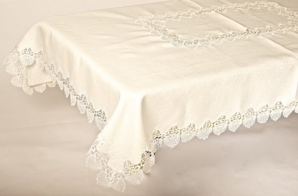 Beige Lace Embroidered Tablecloth